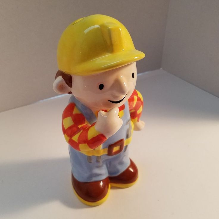 "Bob The Builder Ceramic Coin Figure Piggy Bank 8 1/4"" Handyman Cartoon"