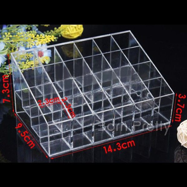 $8.51 Hot Sell 24 Squared Makeup Clear Organizer Cosmetic Nail Art Storage Rack Display Holder - BornPrettyStore.com