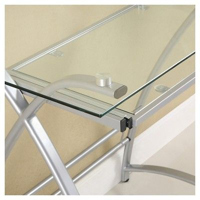 Glass and Metal Corner Computer Desk, Light Silver