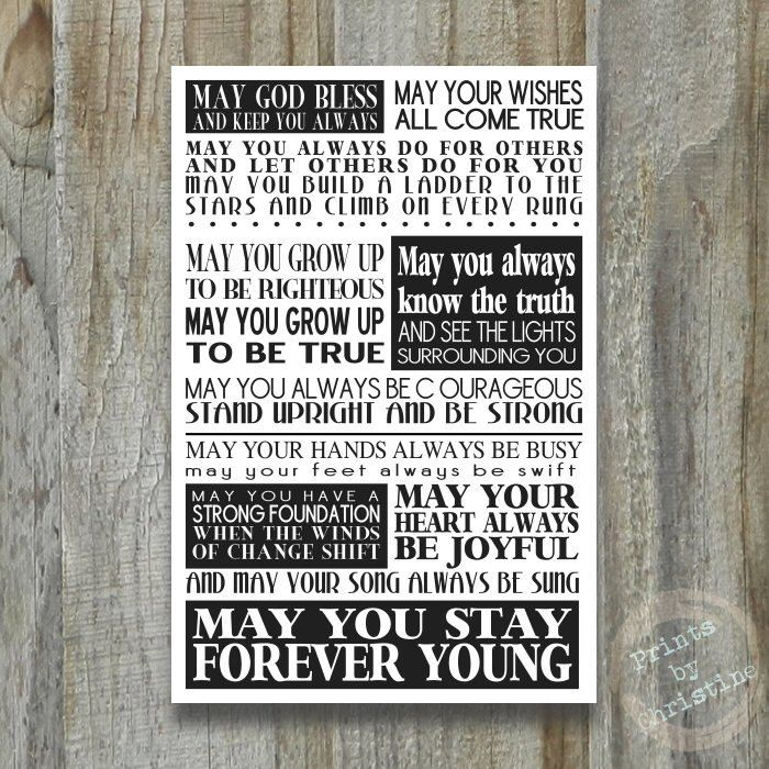 Forever Young Print Song Lyrics Bob Dylan