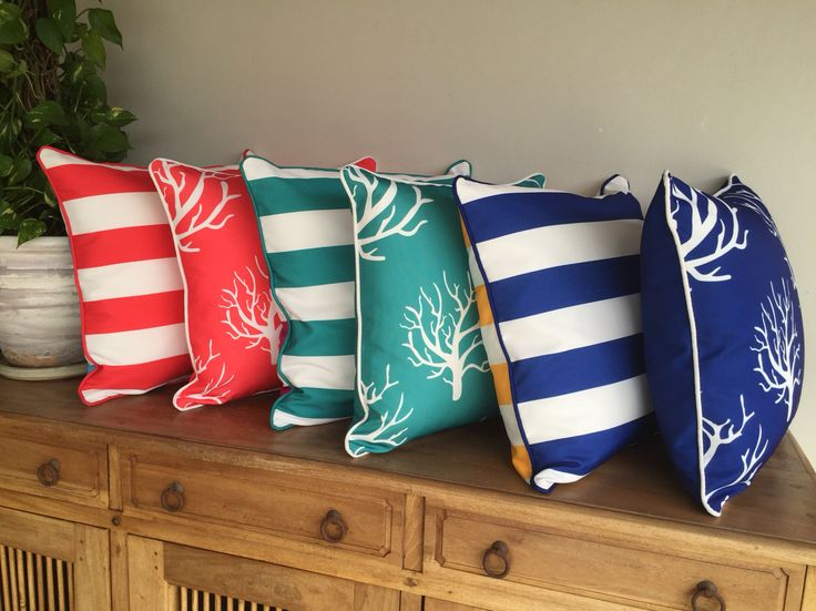 #coastal print #outdoor #cushions #stripes and #coral in red, bright Aqua and…$39.99