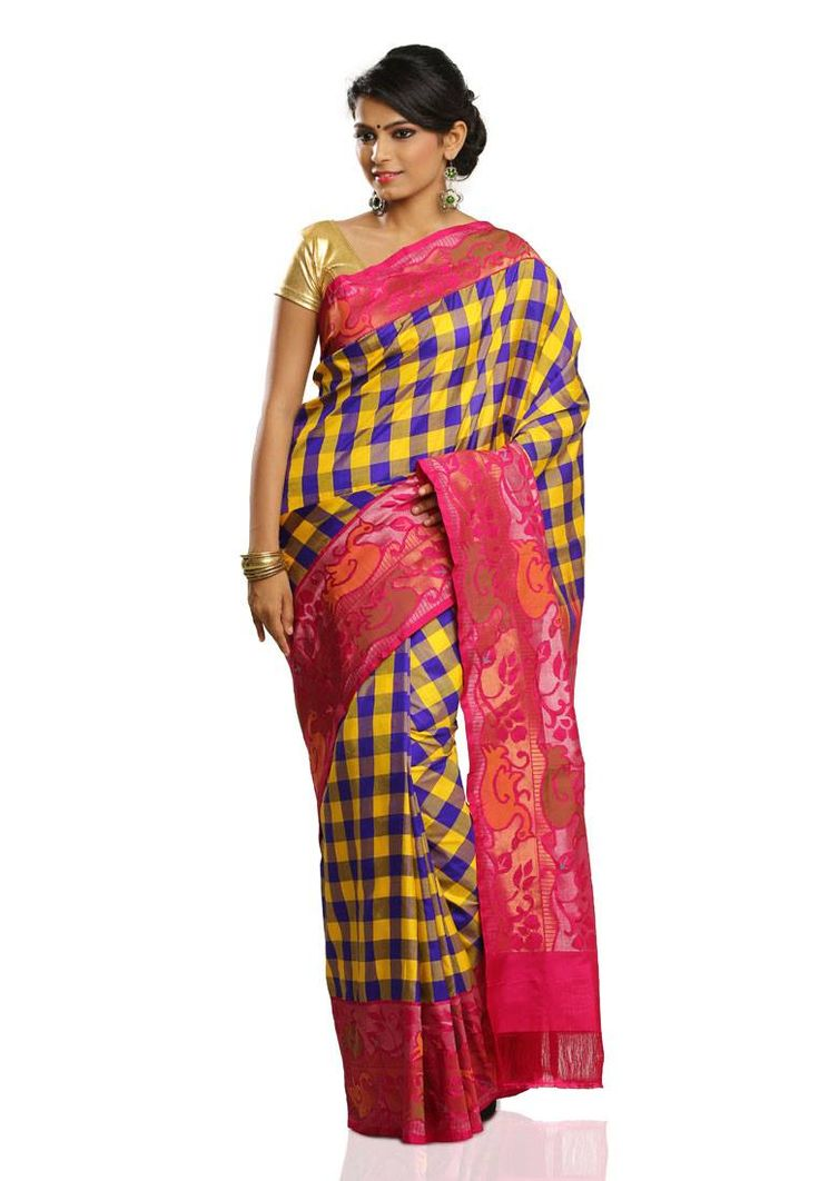 Multicolor Checked (Blue,Yellow and Lavender) Body with Pink Colored Jari and Silver Jari Stylish Bordered Pure Uppada Pure Silk Saree and Pink Colored Plain Blouse Part @ Rs.24690 http://www.shreedevitextile.com/women/sarees/silk-saree/shree-devi/multicolor-checked-pure-uppada-silk-saree-39