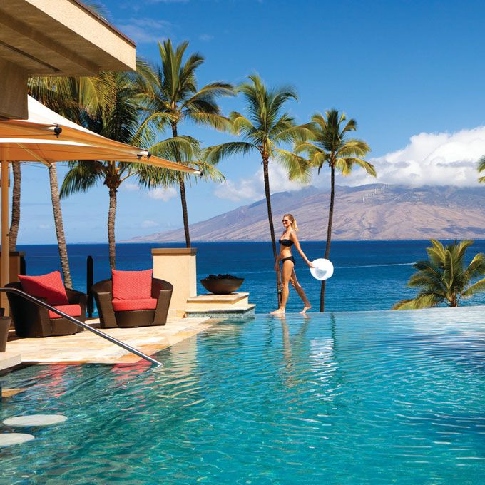 Brides.com: . 1. Four Seasons Maui at Wailea. A-listers like Kate Bosworth and Jennifer Aniston love this Wailea beach beauty: Attendants deliver fresh pineapple, loaner Kindles, and traditional lomi lomi massages at the adults-only Serenity Pool.  Rooms from $485; Four Seasons Maui at Wailea