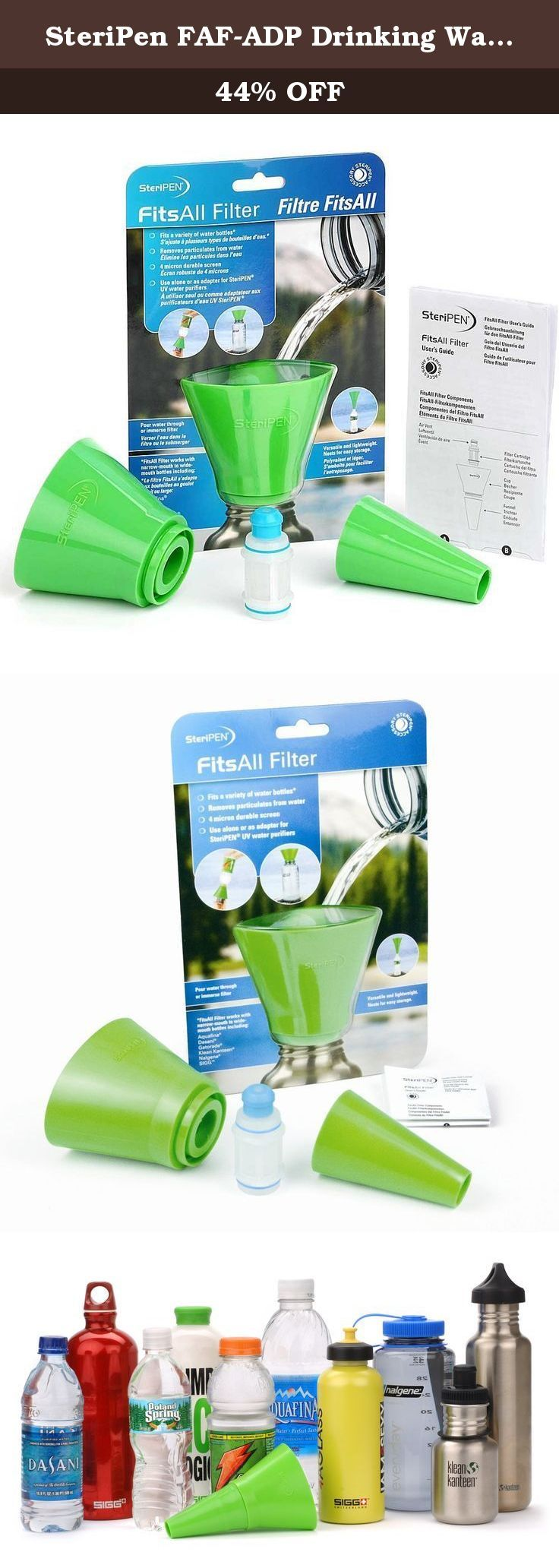 SteriPen FAF-ADP Drinking Water Bottles Filter Kit. Offers the flexibility to filter water into bottles with a wide range of opening sizes.