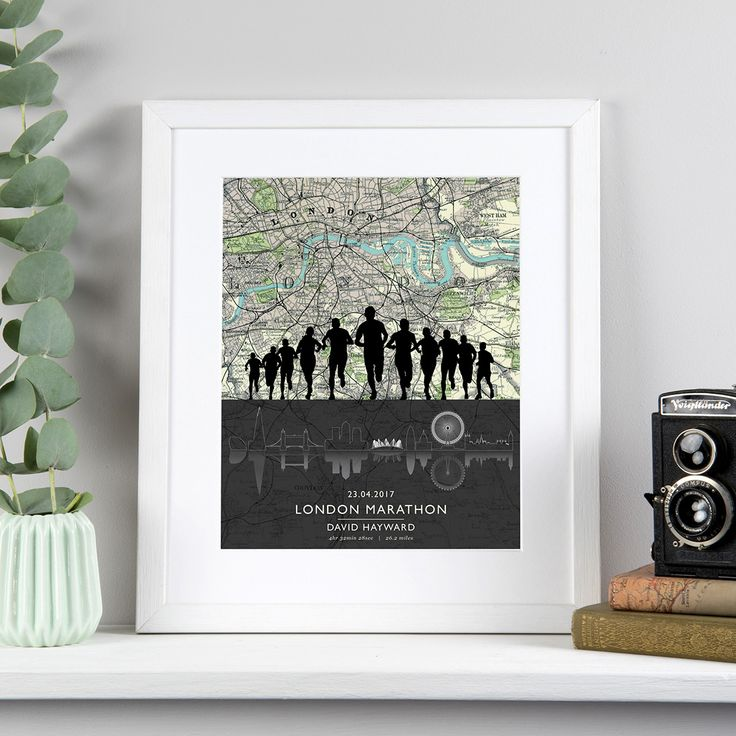 Our London Marathon print features a silhouette of runners over an antique map of the Marathon route and outline of the London skyline.  Personalised with a name and time, this picture makes a perfect congratulatory gift.