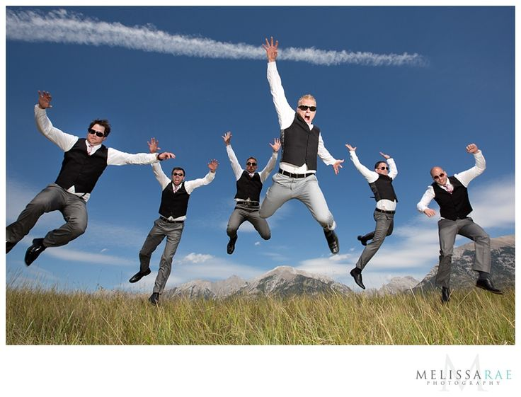 canmore wedding groomsmen jumping