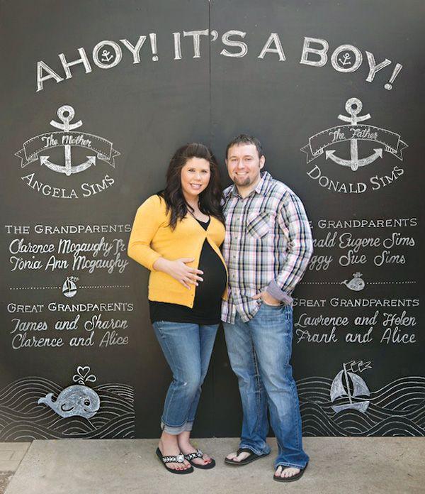 Chalkboard Photo Backdrop - Ahoy! Its a Boy! Nautical Baby Shower
