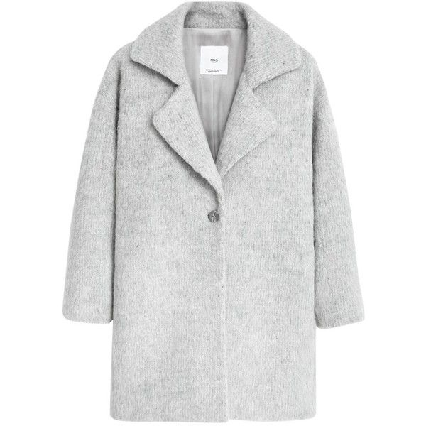 Mango Lapels Wool Coat, Light Pastel Grey found on Polyvore featuring outerwear, coats, cocoon coat, gray wool coat, pastel coat, lapel coat and gray coat