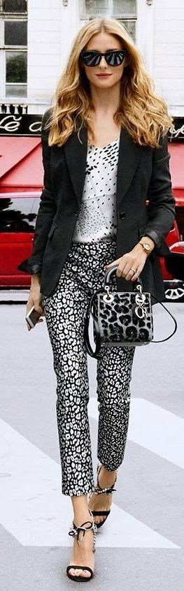 Tibi white abstract dot print silk top, Banana Republic Sloan-Fit Leopard Print Slim Ankle Pant
