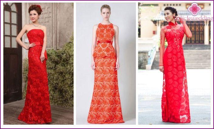 Vestito rosso lungo accessori addio