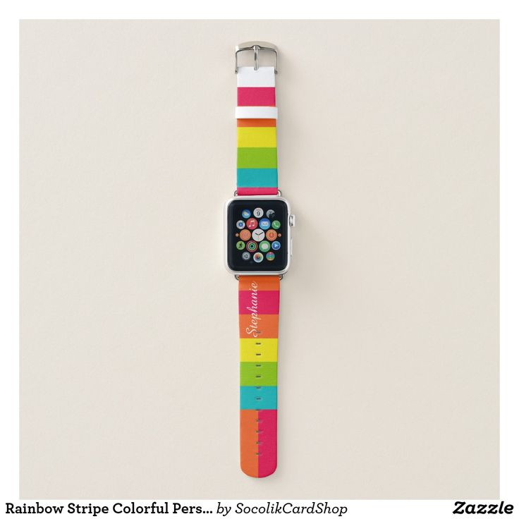 Rainbow Stripe Colorful Personalized Name Apple Watch Band Colorful Rainbow Stripe Apple Watch Strap! Pink, orange, yellow, green turquoise stripes decorate this fun watch strap.Your name in large white script letters on the strap (you can still see name when watch is on). Easy to delete example text. All Rights Reserved © 2017 Alan & Marcia Socolik.