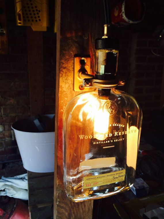 Upcycled Woodford Reserve Bourbon Bottle Lamp. Great for anyone from the liquor enthusiast to the bar owner | $70