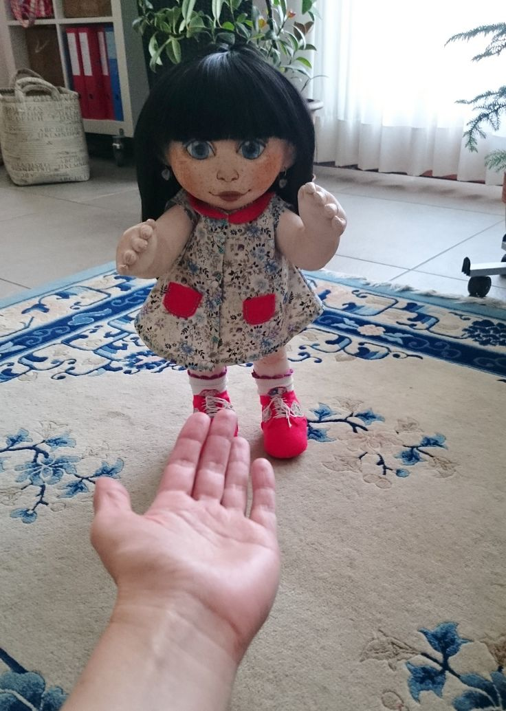 Textile art doll, handmade 100%, covered textile. Staying without support, hands movible, You can undress her complitely, you can brush her and make any hairstyle. Coming together with her small handmade rabbit. DOll is 43 cm tall