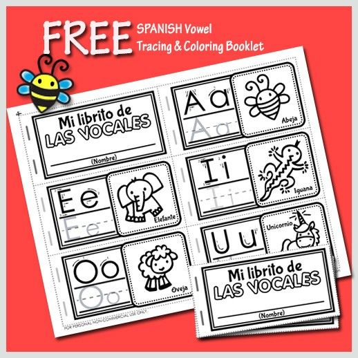 Free Spanish Vowel Tracing and Coloring Booklet for Preschool