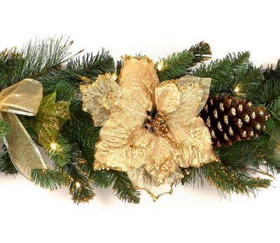 premier prelit gold poinsettia christmas garland