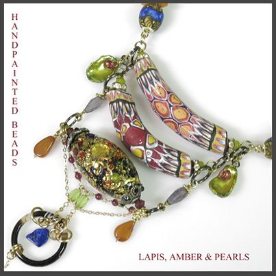 Byzantine Collection... Detail of necklace with Venetian glass bead, Handpainted elbow beads, amber,lapis, pearls,garnet, peridot and iolite, with 9ct gold fine chain details. www.carolinetrask.com