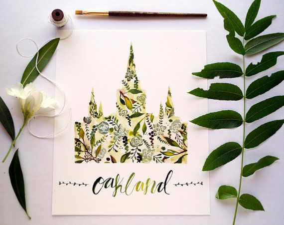 This listing is for a print of my original watercolor painting of the Oakland Temple. All 8 x10 and 11x14 prints are printed using an inkjet printer