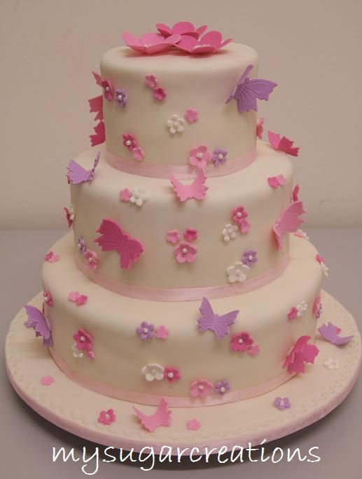 """purples, pink butterfies wedding cakes   ... and 12"""" round Lemon Buttercake with gum paste flowers and butterflies"""