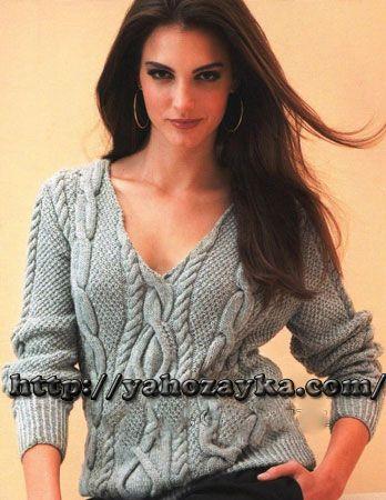 Серый пуловер с аранами — HandMade