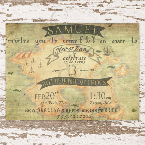 Vintage Never Land Map Invitation / Neverland by LucLilahEvents