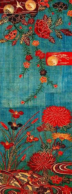 "Gorgeous Japanese fabric. detail , SUNTORY MUSEUM OF ART ""Bingata-dyed fabrics""  #fabrics #textiles"