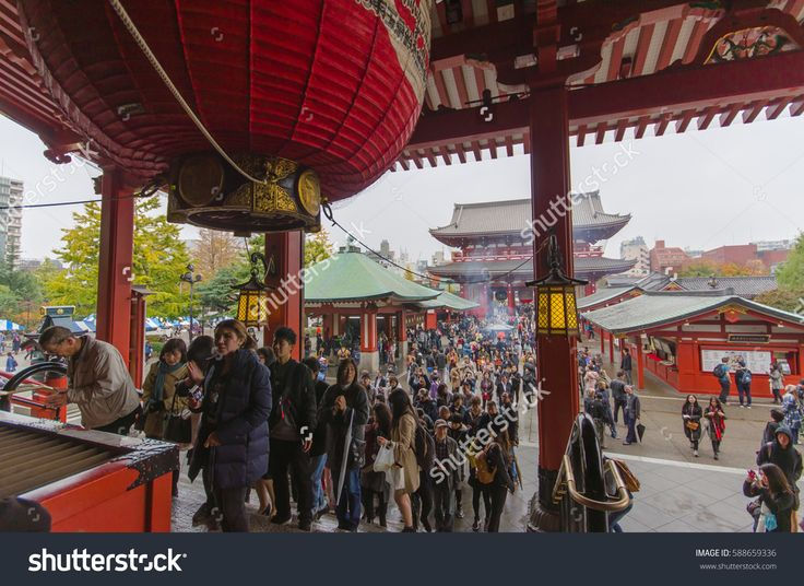 Tokyo, Japan - November 19, 2016 : The Senso-ji Temple in Asakusa, Tokyo, Japan . The Senso-ji Temple in Asakusa is the most famous temple in Tokyo .