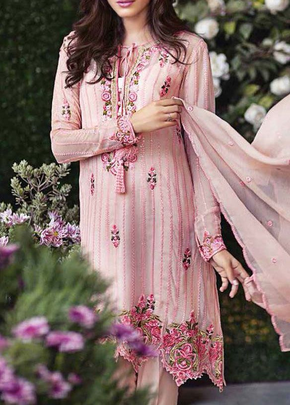 Buy Light Pink Embroidered Chiffon Dress by Mina Hasan 2015.