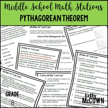 This math station activity is intended to help students understand how to explain a proof of the Pythagorean Theorem and its converse, apply the Pythagorean Theorem to determine unknown side lengths, and apply the Pythagorean Theorem to find the distance between two points in a coordinate system.