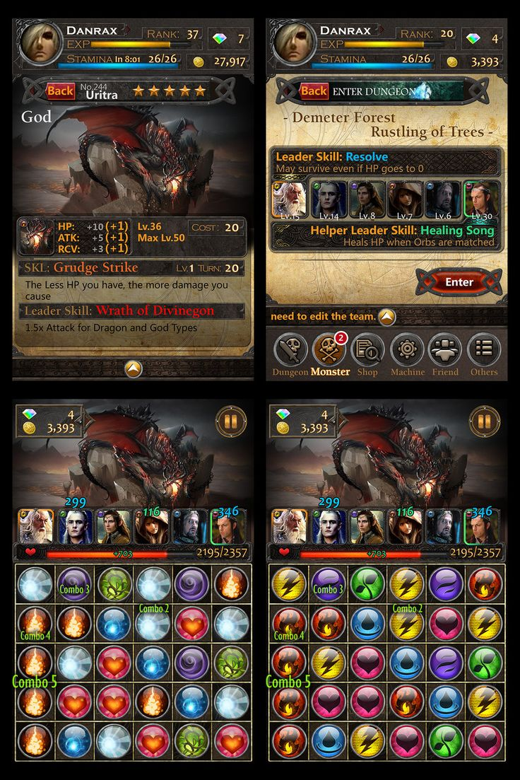 Fantasy Trading card and puzzle game UI by nonamex7.deviantart.com on @deviantART