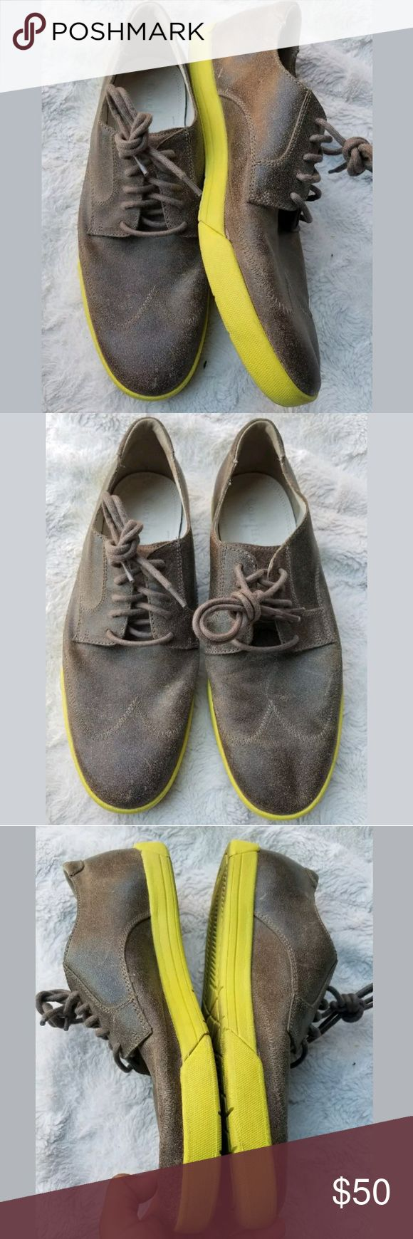 cole haan air jasper wing tip w/nike air bottom volt yellow smoke suade. great condition please refer to pictures please ask questions Cole Haan Shoes Oxfords & Derbys