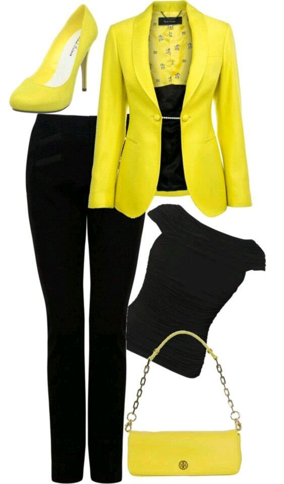 Yellow and black business attire.... Do this with green instead: