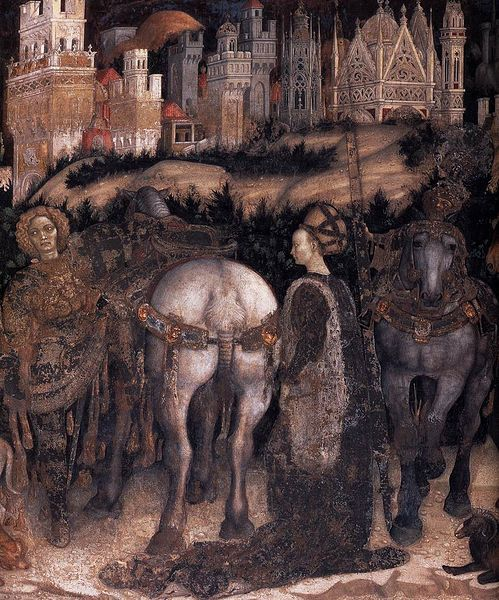 Detail from Pisanello's St. George and the Princess of Trebizond, c. 1436-38. Fresco. Pellegrini Chapel, Chiesa di Sant'Anastasia, Verona, Italy.