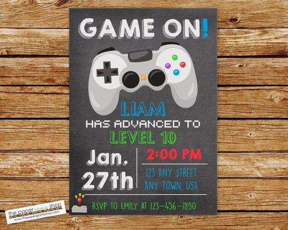 Video Game Invitation Video Game Birthday Gaming Etsy Video Games Birthday Laser Tag Birthday Party Video Games Birthday Party