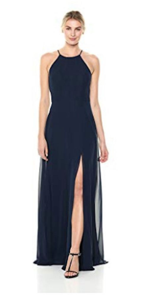 dd99b990452 Jenny Yoo Women s Kayla A-Line Halter Chiffon Long Dress Size 6 Navy New   fashion  clothing  shoes  accessories  womensclothing  dresses (ebay link)