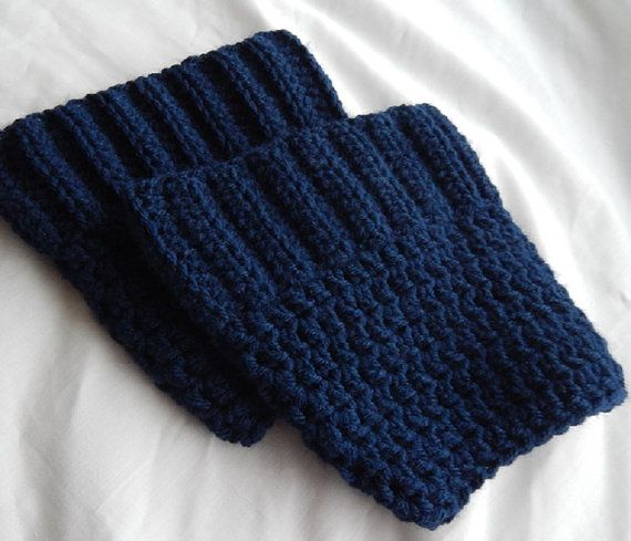 Navy Blue Boot Cuffs Female Crochet Boot by dilliedabbledesigns, $11.00