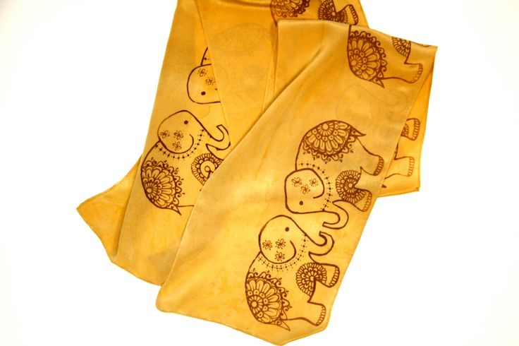 Gold Elephant Scarf by HennaCreationsSilk on Etsy