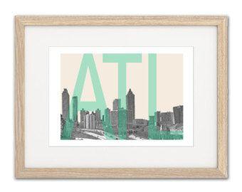 Atlanta Skyline - Atlanta Art - Atlanta map - Atlanta poster - Atlanta Custom Art - Atlanta Art Print - Atlanta - Georgia