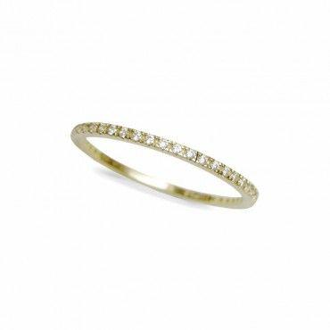 Μοντέρνο γυναικείο ολόβερο λεπτό δαχτυλίδι από χρυσό Κ14 σειρέ με λευκές πέτρες ζίργκον σε όλο το μήκος | Δαχτυλίδια ΤΣΑΛΔΑΡΗΣ στο Χαλάνδρι #σειρέ #ζιργκον #χρυσο #δαχτυλίδι #rings