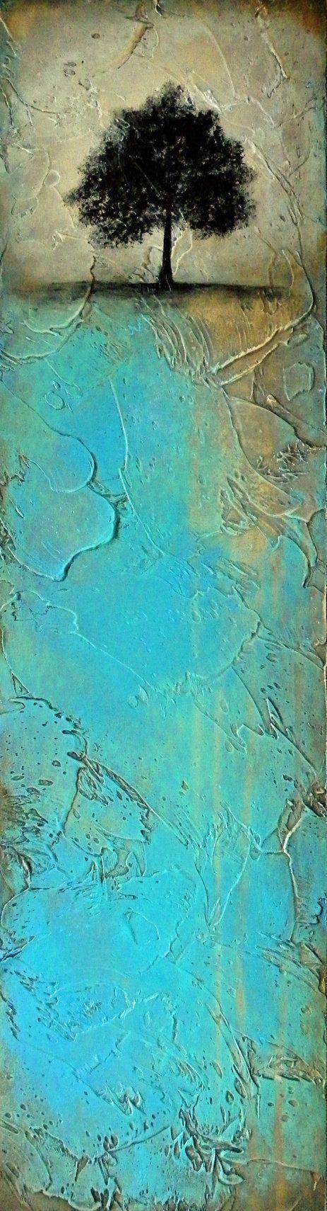 Beautiful Abstract Tree Painting Original Art Heavily Textured