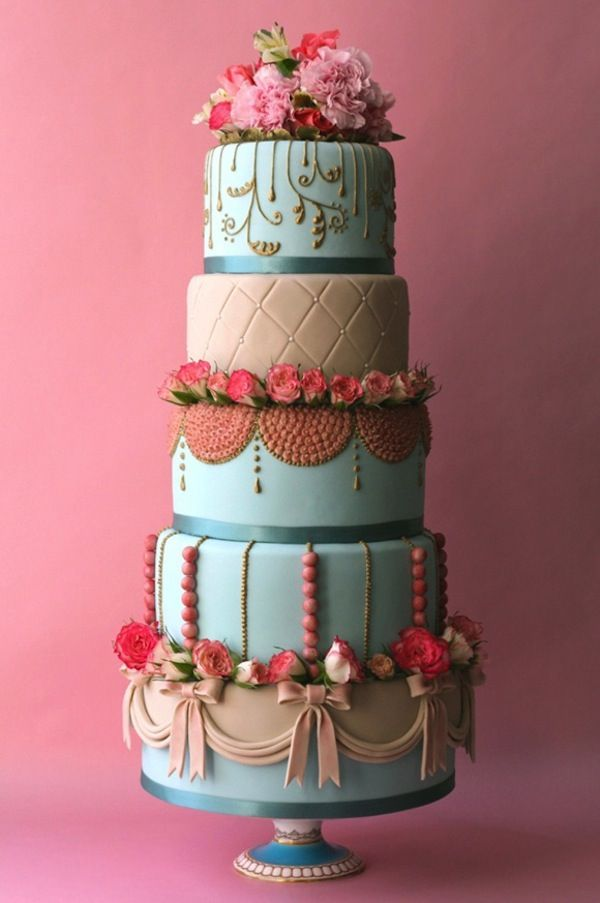 """This """"Marie Antoinette"""" wedding cake is sure to get those Ooh's and Ahh's for your dream wedding. Here are five more cute and colorful wedding cakes for you to gawk over. [PHOTOS]"""