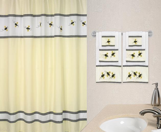 Jojo designs bumblebee bee decor yellow black fabric for Black and yellow bathroom decor