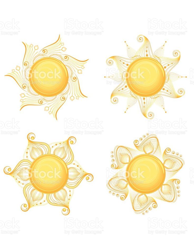 Intricate Sun Designs royalty-free stock vector art