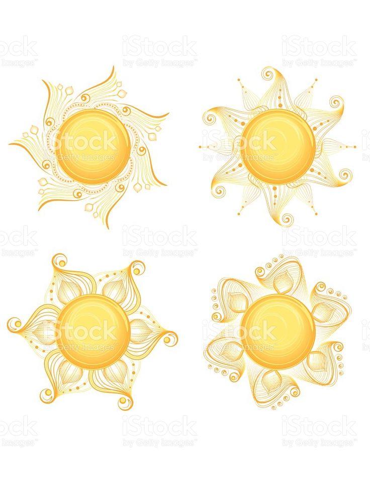 Intricate Sun Designs royalty-free stock vector art