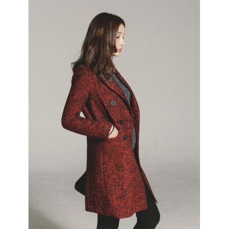 fashionable shoes online shop-shoemakker: Red Coat Model  SMT6022 Condition  New  Stylish double long coat with shoulder padded beautiful line item for women essential item Color : Red Material : Wool 5% + Polyester 95
