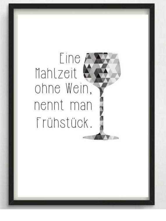 "Poster-print A4 ""Wine & Breakfast"" Kitchen poster – Anica Goschin"
