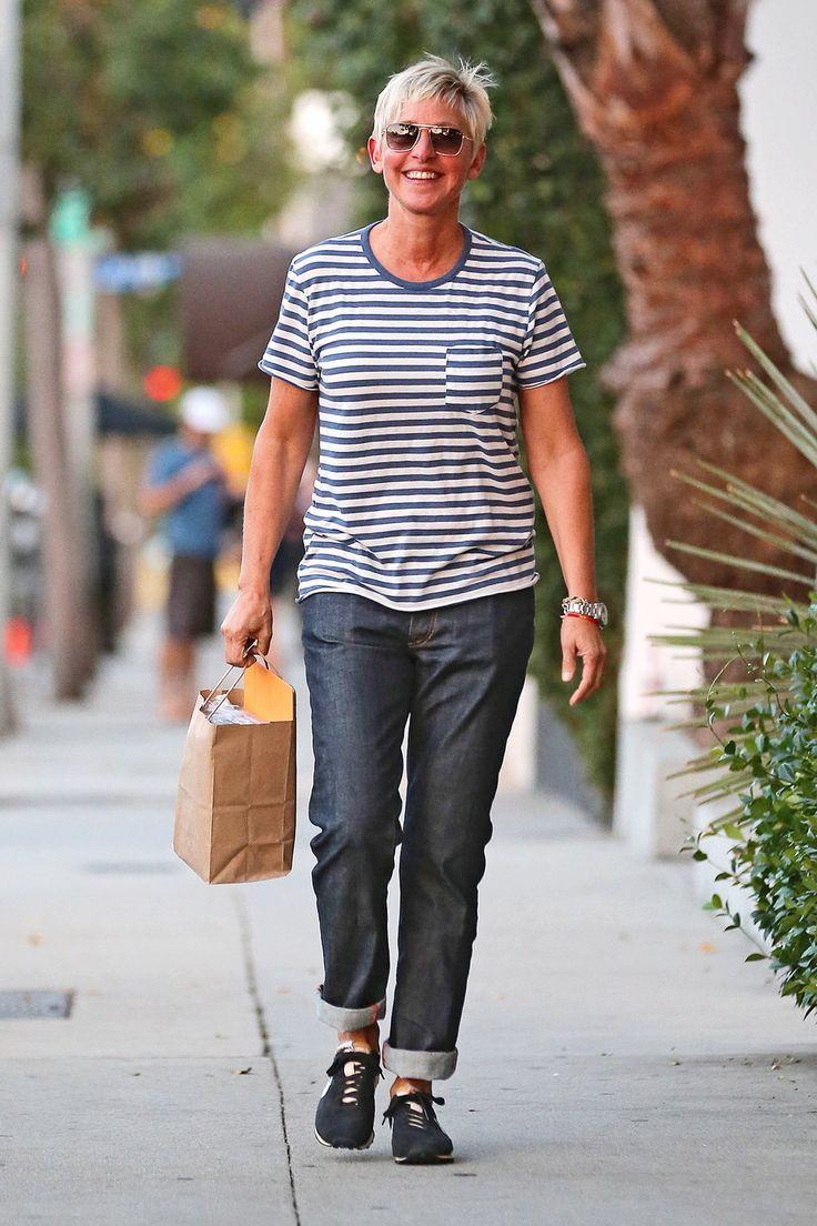 Ellen DeGeneres jeans rolled up striped t-shirt sunglasses