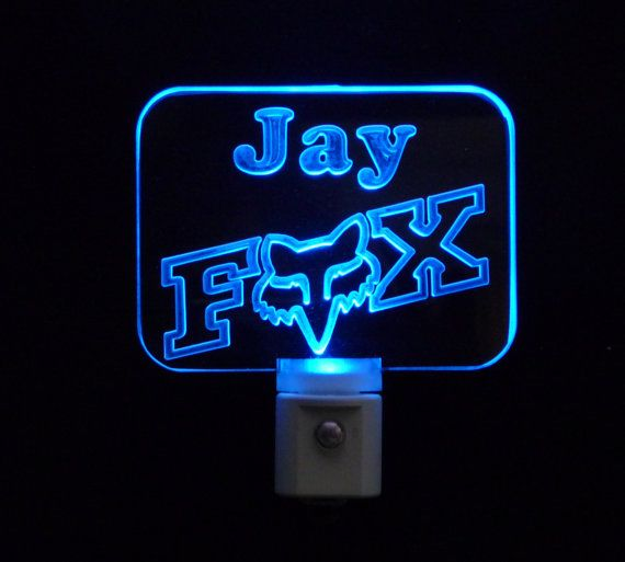 Personalized Fox Racing Night Light by UniqueLEDProducts on Etsy