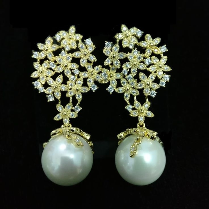 Luxury Micro Paved Pearl Drop Gold Plated Earrings