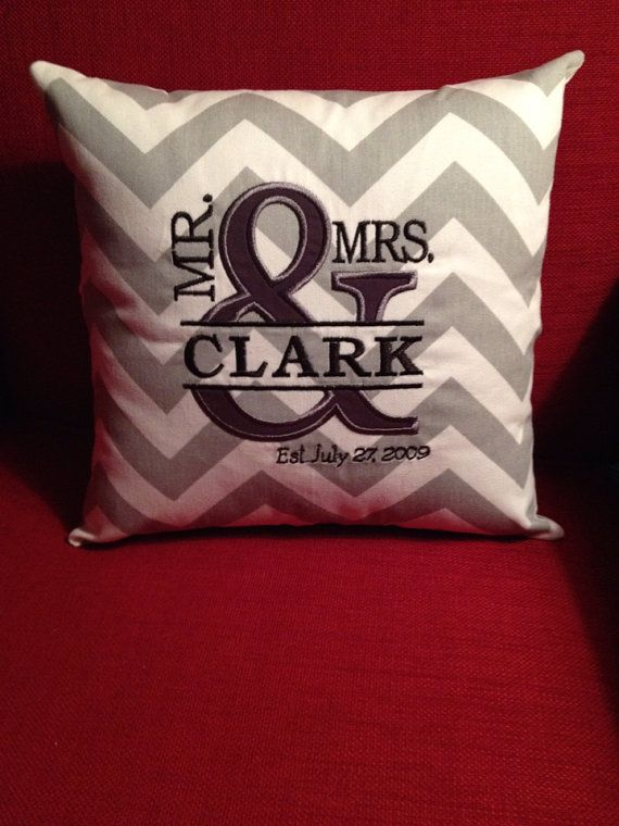 """Mr. and & Mrs. Appliqued Monogrammed Personalized Pillow Cover - 12"""" - Custom on Etsy, $27.00"""