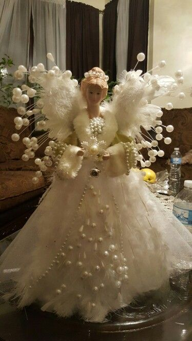 White feather and Pearl Angel Tree Topper